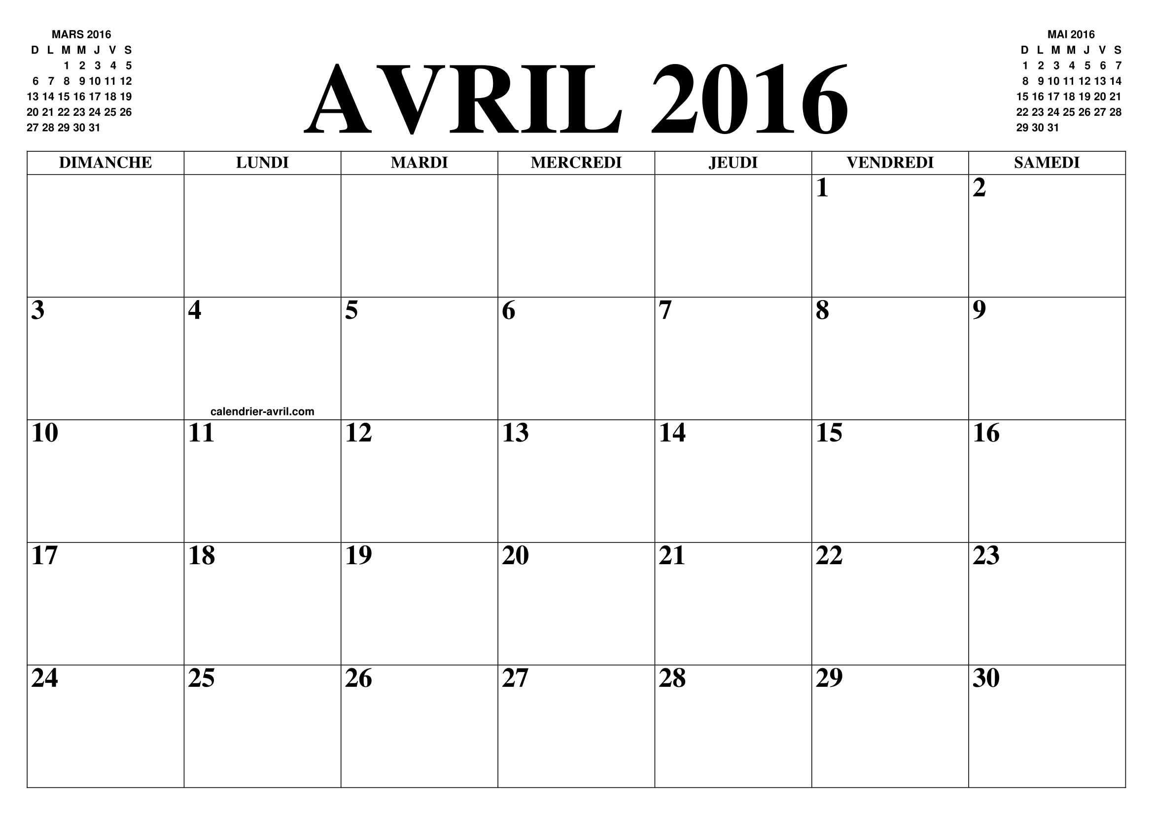 Calendrier Avril 2016 Le Calendrier Du Mois De Avril Gratuit A Imprimer Agenda
