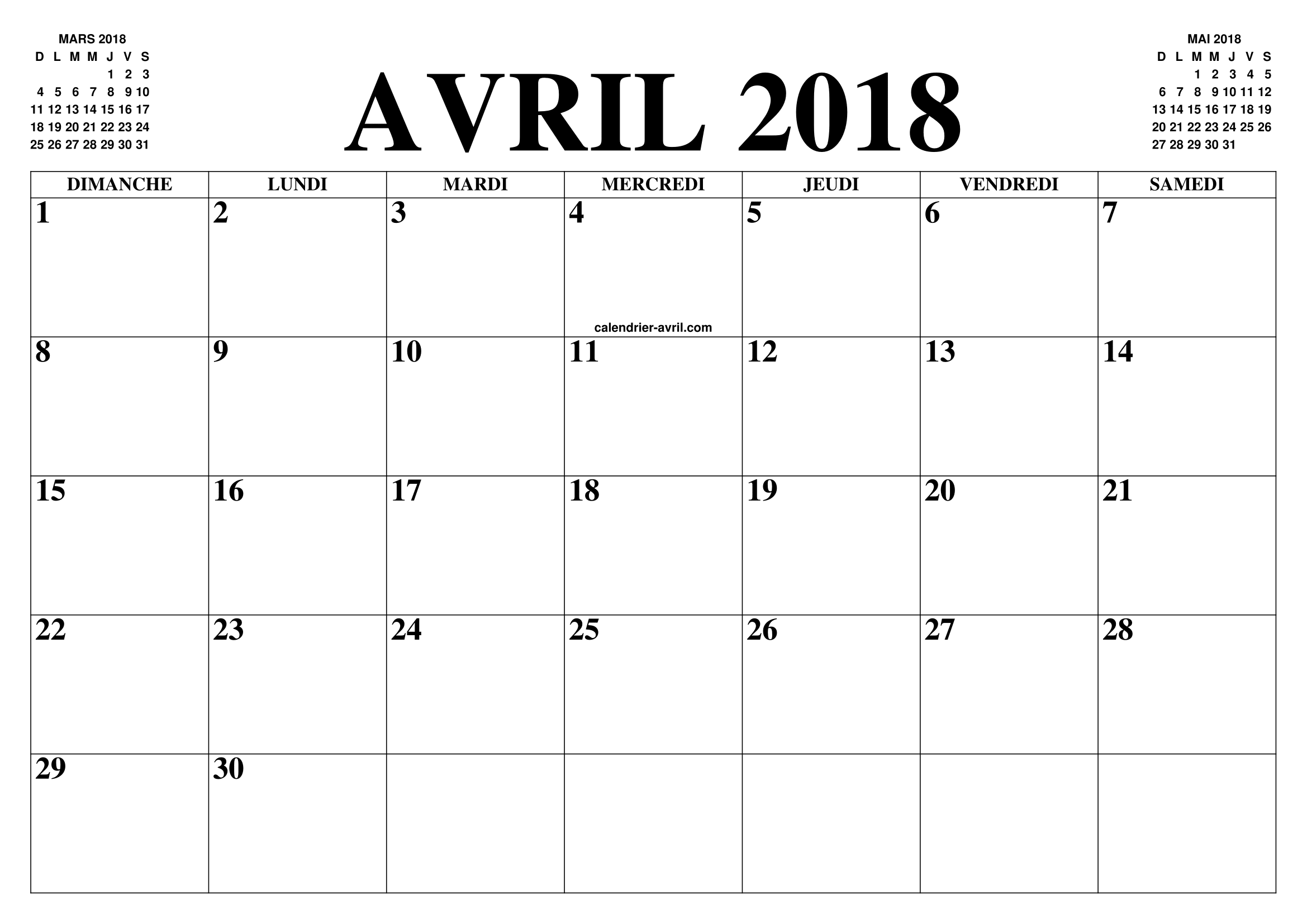 Calendrier Avril 2018 Le Calendrier Du Mois De Avril Gratuit A