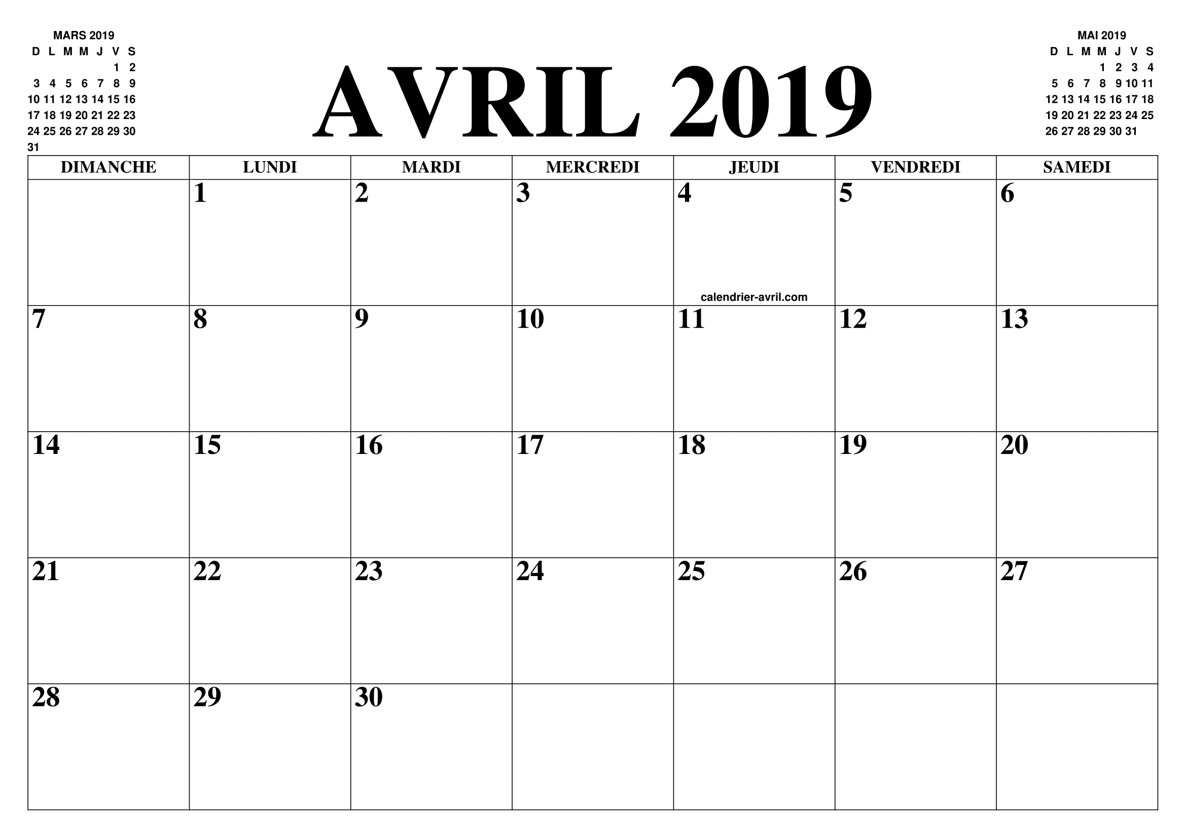 Calendrier Avril Mai Juin 2019.Calendrier Avril 2019 2020 Le Calendrier Du Mois De