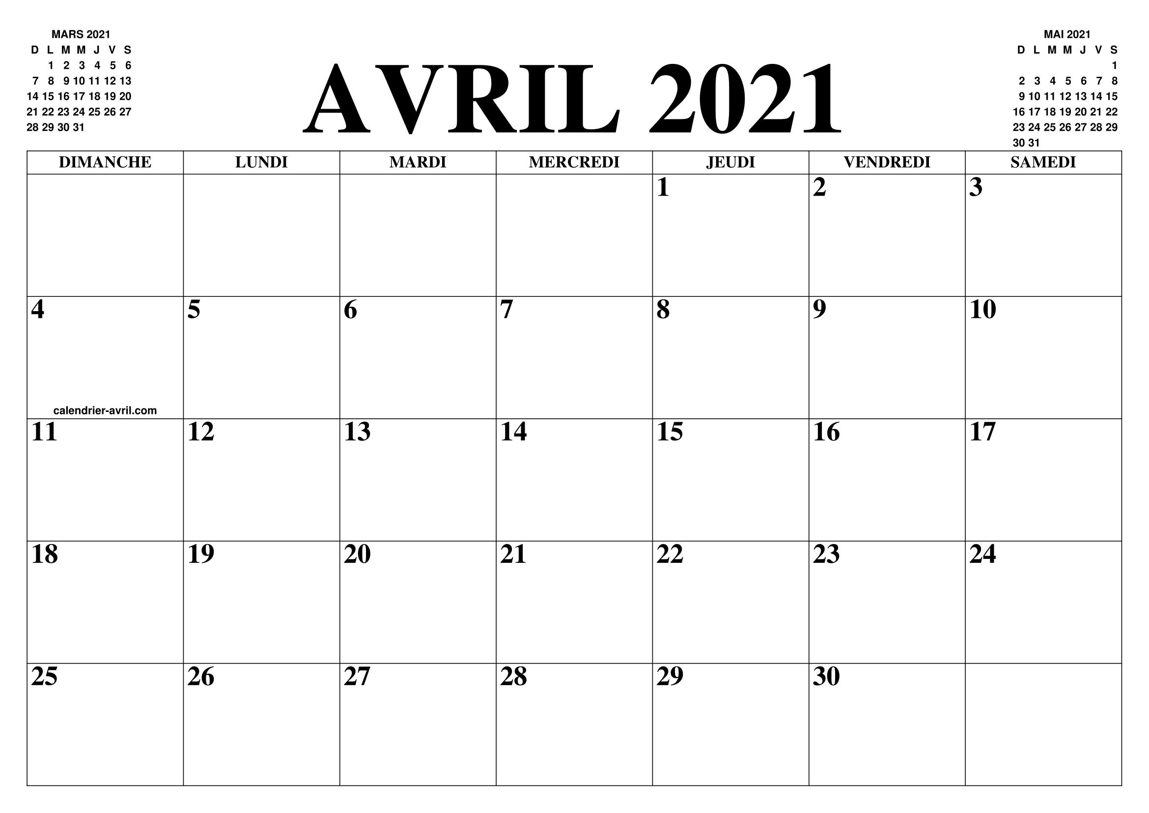 Calendrier Mensuel Avril 2021 CALENDRIER AVRIL 2021 : LE CALENDRIER DU MOIS DE AVRIL GRATUIT A